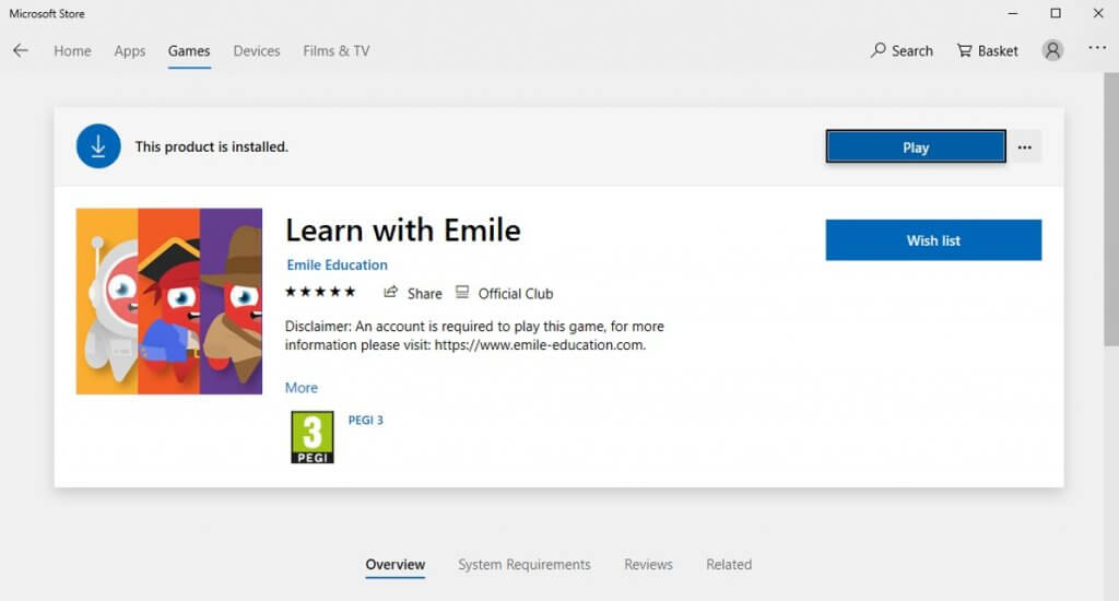 app on Microsoft store