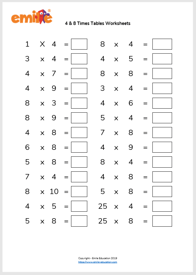 4 & 8 Times Tables Worksheet