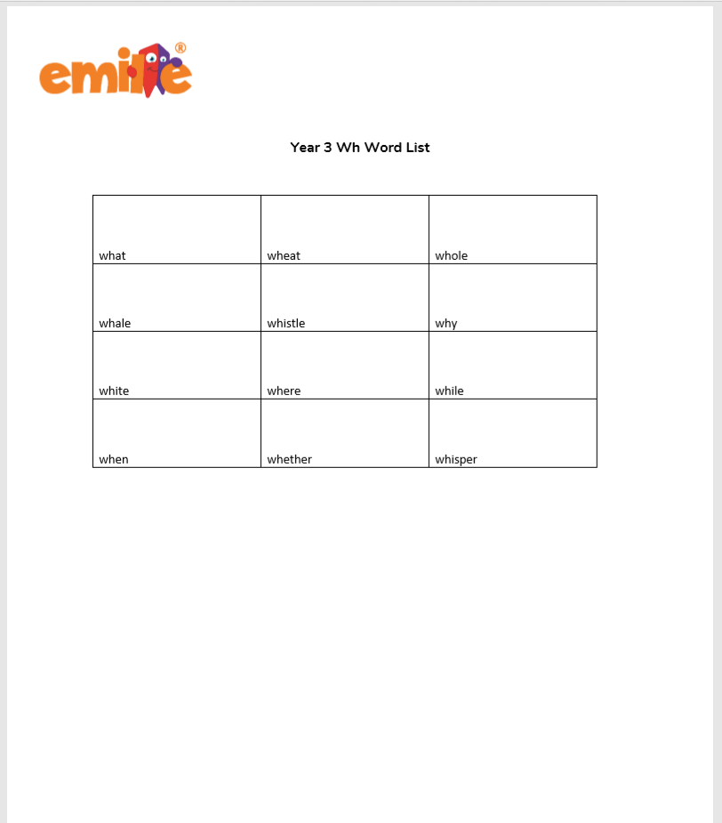 Year 3 Wh Word List