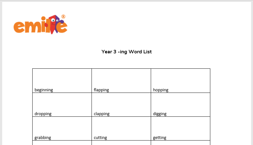Year 3 -ing Words List
