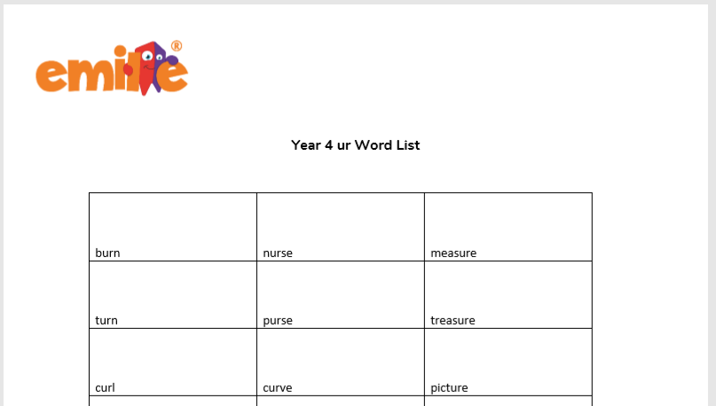 Year 4 ur Words List
