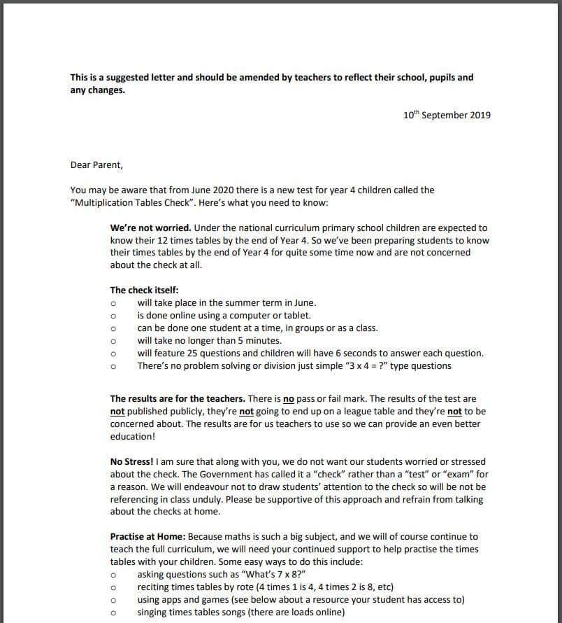 MTC Letter for parents