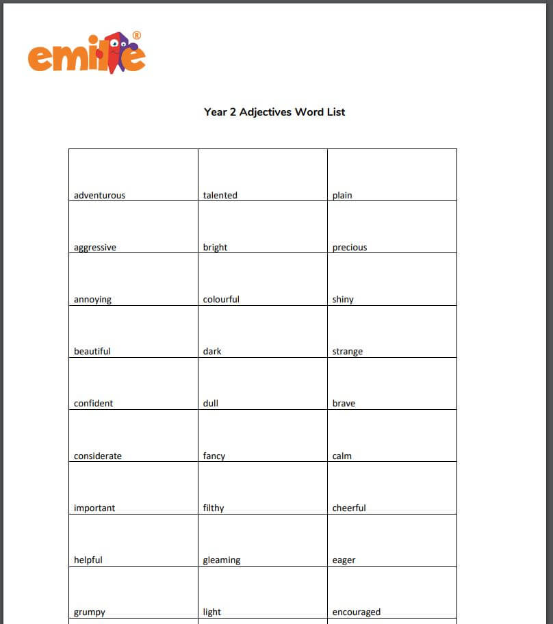 Y2 Adjectives word list