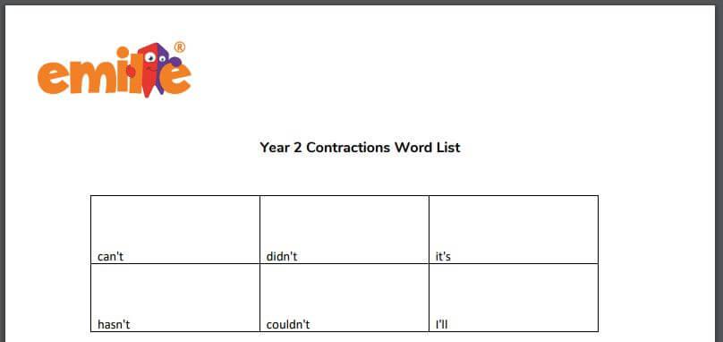 Y2 Contraction word list