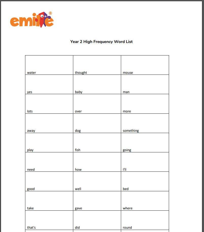 Y2 High Frequency word list
