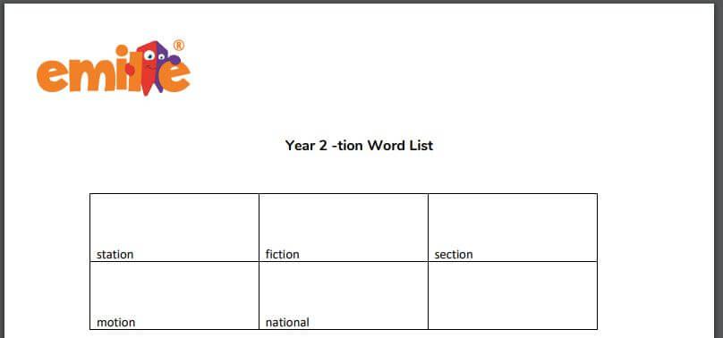 Y2 tion word list