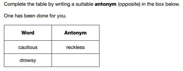 Antonym example sat paper