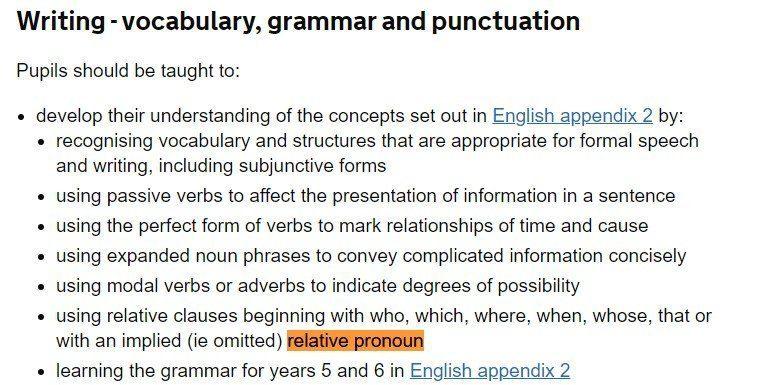 relative pronoun national curriculum