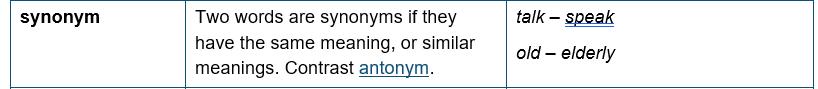 teach synonyms