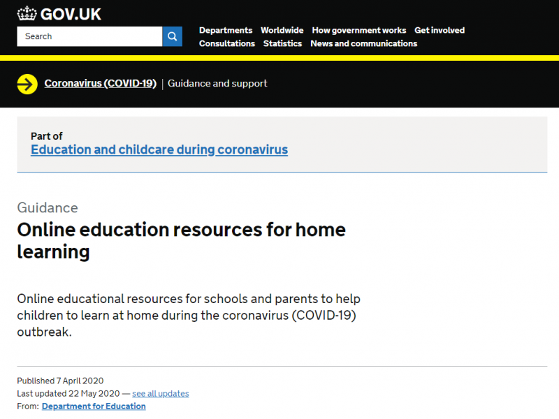 DfE list of online resources